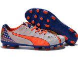 puma足球鞋 2017新款 evoPOWER 12低幫時尚AG釘男鞋 白橘藍