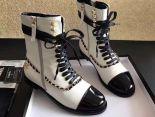 Chanel 靴子 2017新款 綁帶金色鏈高筒潮流女靴 白黑色