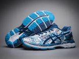 asics慢跑鞋 紐約馬拉松紀念版 亞瑟士緩震時尚男鞋 塗鴉藍白色