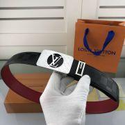 lv皮帶目錄 路易威登2018新款 HF108牛皮壓格時尚鋼扣腰帶
