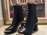 chanel 鞋 2018新款 香奈兒玫瑰鉚釘靴高跟靴 黑色