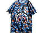 bape短T 2018新款 日系潮牌鯊魚印花款圓領男生休閒短袖T恤 藍迷彩