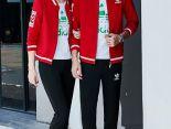 adidas套裝 2017新款 時尚情侶休閒秋冬套裝 8088款紅黑色