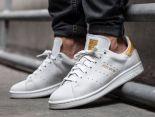 adidas stan smith 史密斯燙金字母時尚情侶款休閒板鞋 白金色